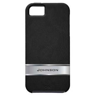 Elegant Black Leather Look with Silver Metal Label iPhone 5 Cases