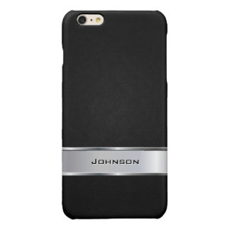 Elegant Black Leather Look with Silver Metal Label iPhone 6 Plus Case