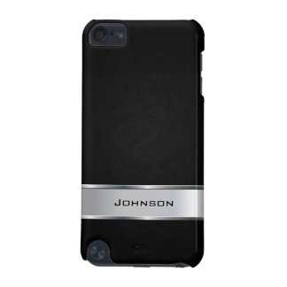 Elegant Black Leather Look with Silver Metal Label iPod Touch (5th Generation) Covers