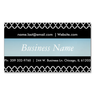 Elegant Black & Light Aqua Blue Quatrefoil Design Magnetic Business Cards