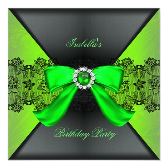 Elegant Black Lime Green Pearl Bow Birthday Party Card