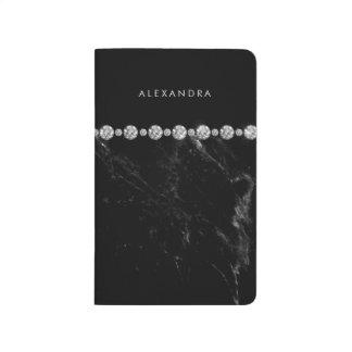 Elegant Black Marble and Diamond Look Journal