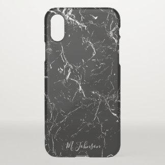Elegant Black Marble Personalised iPhone X Case