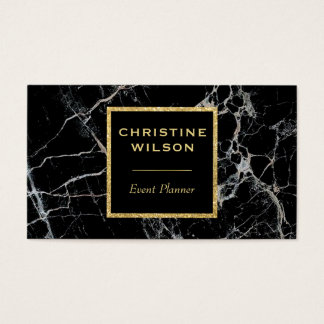 elegant black marble stone business card