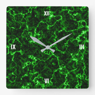 Elegant Black Marble with Phosphorus Green Veins Clocks