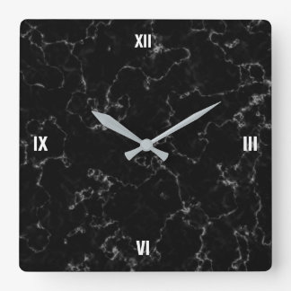 Elegant Black Marble with White Veins Wallclocks
