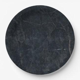 Elegant Black Marbled Stone Texture Paper Plate