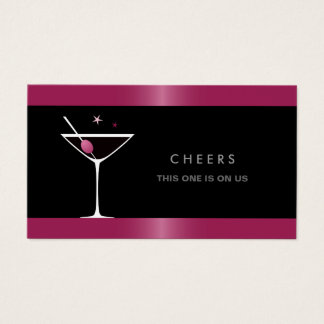 Elegant black martini cocktail glass drink voucher business card