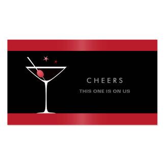 Elegant black martini cocktail glass drink voucher pack of standard business cards