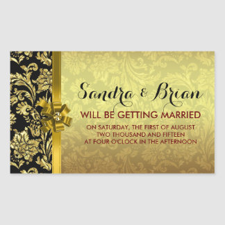 Elegant Black & Metallic Gold Damasks Rectangular Sticker