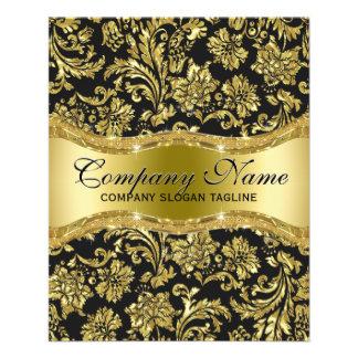 Elegant Black & Metallic Gold Floral Damasks 11.5 Cm X 14 Cm Flyer