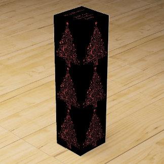 Elegant Black Metallic Red Christmas Tree Pattern Wine Box