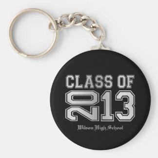 Elegant Black & Metallic Silver Class of 2013 Basic Round Button Key Ring
