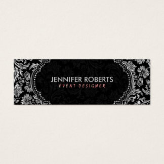 Elegant Black & Metallic Silver Floral Damasks Mini Business Card