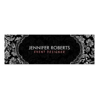 Elegant Black & Metallic Silver Floral Damasks Pack Of Skinny Business Cards