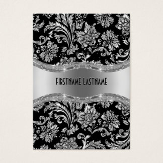 Elegant Black & Metallic Silver Vintage Damasks