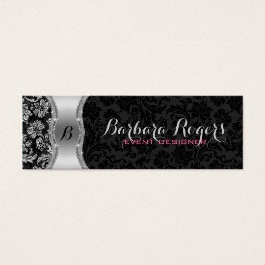 Elegant Black & Metallic Silver Vintage Damasks 2