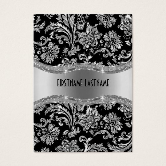 Elegant Black & Metallic Silver Vintage Damasks Business
