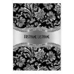 Elegant Black & Metallic Silver Vintage Damasks Pack Of Chubby Business Cards