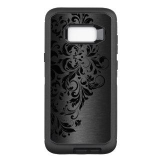 Elegant Black Metallic Texture & Black Swirly Lace OtterBox Defender Samsung Galaxy S8+ Case