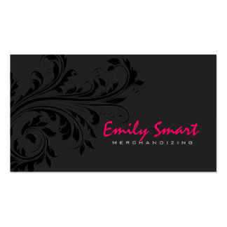 Elegant Black Monochromatic Floral Swirl Business Card Template