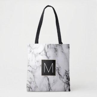elegant black monogram on white marble stone tote bag
