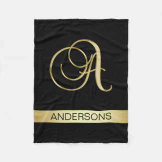 Elegant Black Monogrammed Initials 'A' with Name Fleece Blanket