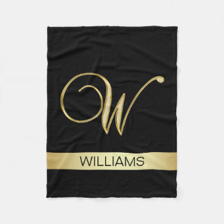 Elegant Black Monogrammed Initials 'W' with Name Fleece Blanket