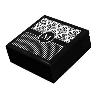 Elegant Black on White Damask Gift Box
