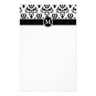 Elegant Black on White Damask Stationery