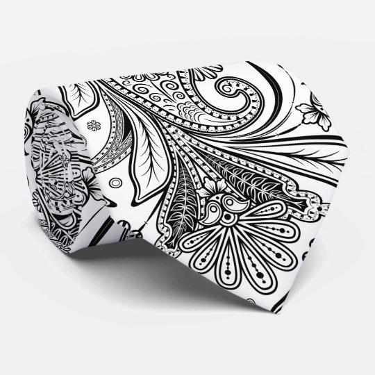 Elegant Black Paisley On White Background Tie