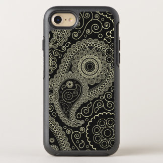 Elegant black Paisley Pattern OtterBox Symmetry iPhone 7 Case