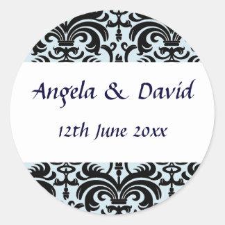 Elegant Black & Pale Blue Envelope Seal Round Sticker