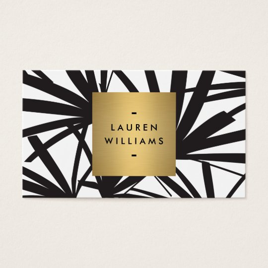 Elegant Black Palm Fronds with Gold Nameplate Logo