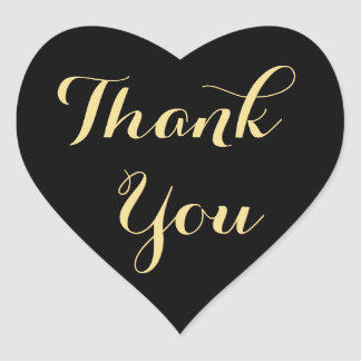 Elegant Black Party Favor Heart Thank You Sticker