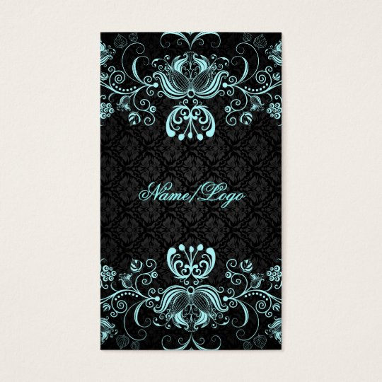 Elegant Black & Pastel Blue Floral Swirls Business Card