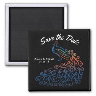 Elegant Black Peacock Wedding Save the Date Magnet