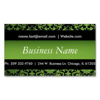 Elegant Black & Peridot Green Damask Design Magnetic Business Card