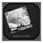 Elegant Black Photo Black Birth Announcement