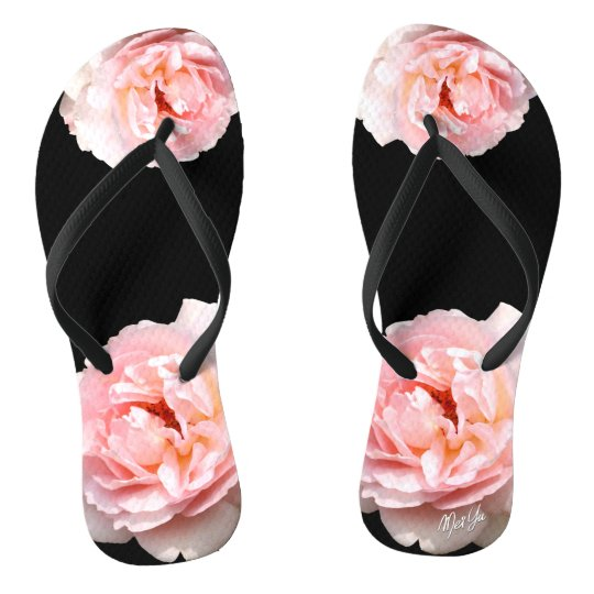 Elegant Black + Pink Rose Floral Summer Flip