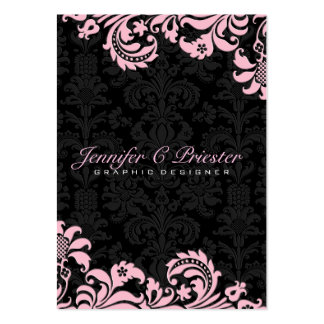 Elegant Black pink Vintage Floral Damasks 2 Business Card Templates