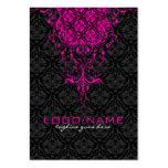 Elegant Black & Pink  Vintage Floral Damasks Pack Of Chubby Business Cards
