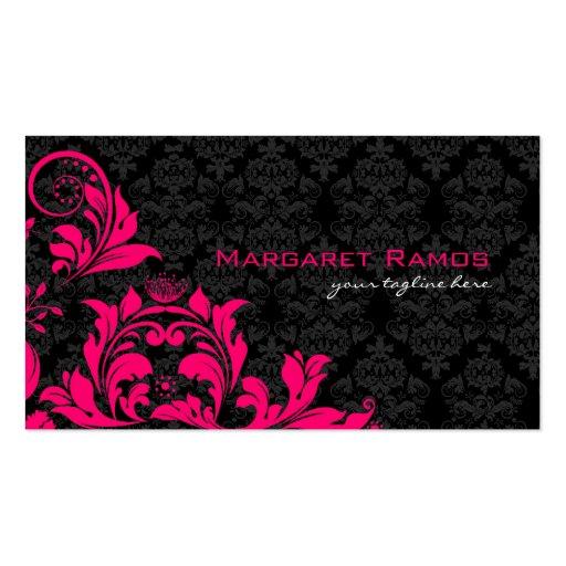 Elegant Black Pink & White Vintage Floral Damasks Business Card Templates