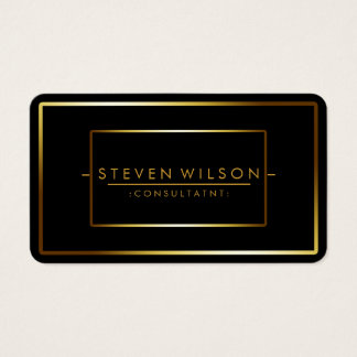 Elegant Black Professional Modern Plain Gold Business Card