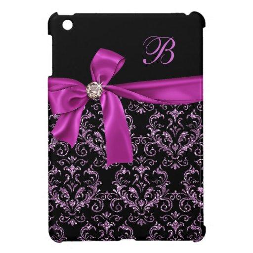 Elegant Black Purple Damask Diamond Bow Monogram iPad Mini Covers