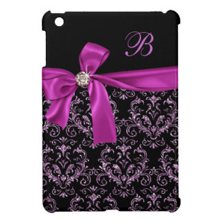 Elegant Black Purple Damask Diamond Bow Monogram iPad Mini Cases