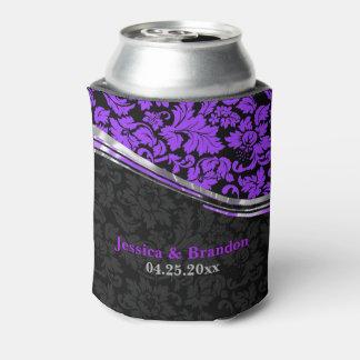 Elegant Black & Purple Damasks With Silver Accents