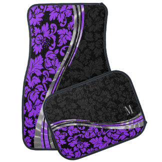 Elegant Black & Purple Damasks With Silver Accents Car Mat