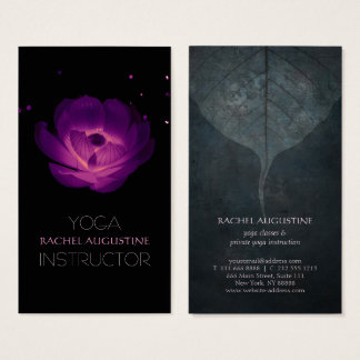 Elegant Black Purple Glowing Lotus Yoga Instructor Business Card