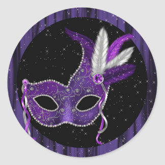 Elegant Black Purple Masquerade Stickers